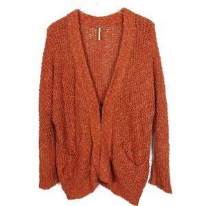 Free People Medium Rust Orange Nubby Cardigan